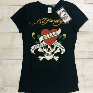 "Ed Hardy Tops - Ed Hardy ""Love Kills Slowly"" skull fitted tee"